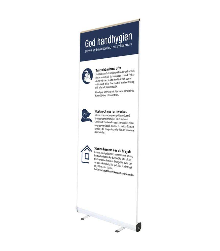 rollup Rollup med viktigt information god handhygien 900x1028