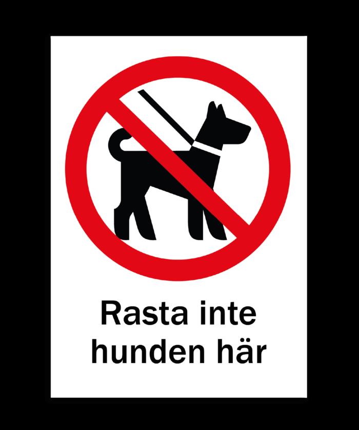[object object] Skyltar skylt rasta inte hunden h  r 700x840